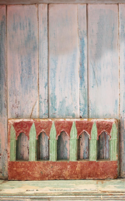 Early 19th Century Painted Jali Window from Gujarat